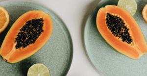 Papaya, Lime and Orange on a plate