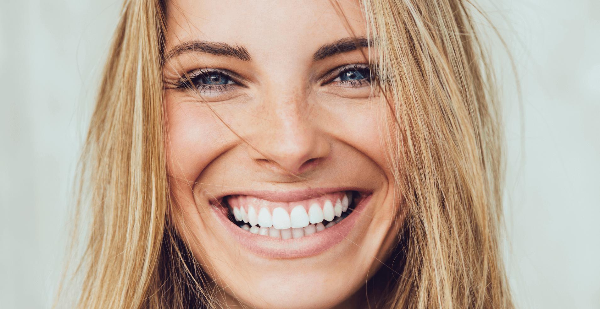 Blonde women smiling